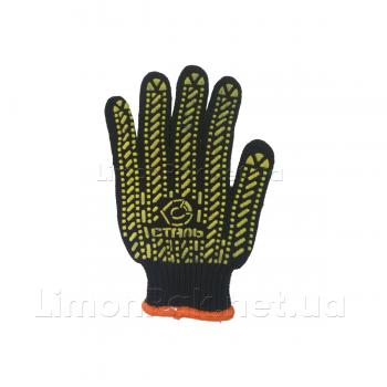 Рукавички х/б чорного кольору з жовтим ПВХ візерунком
